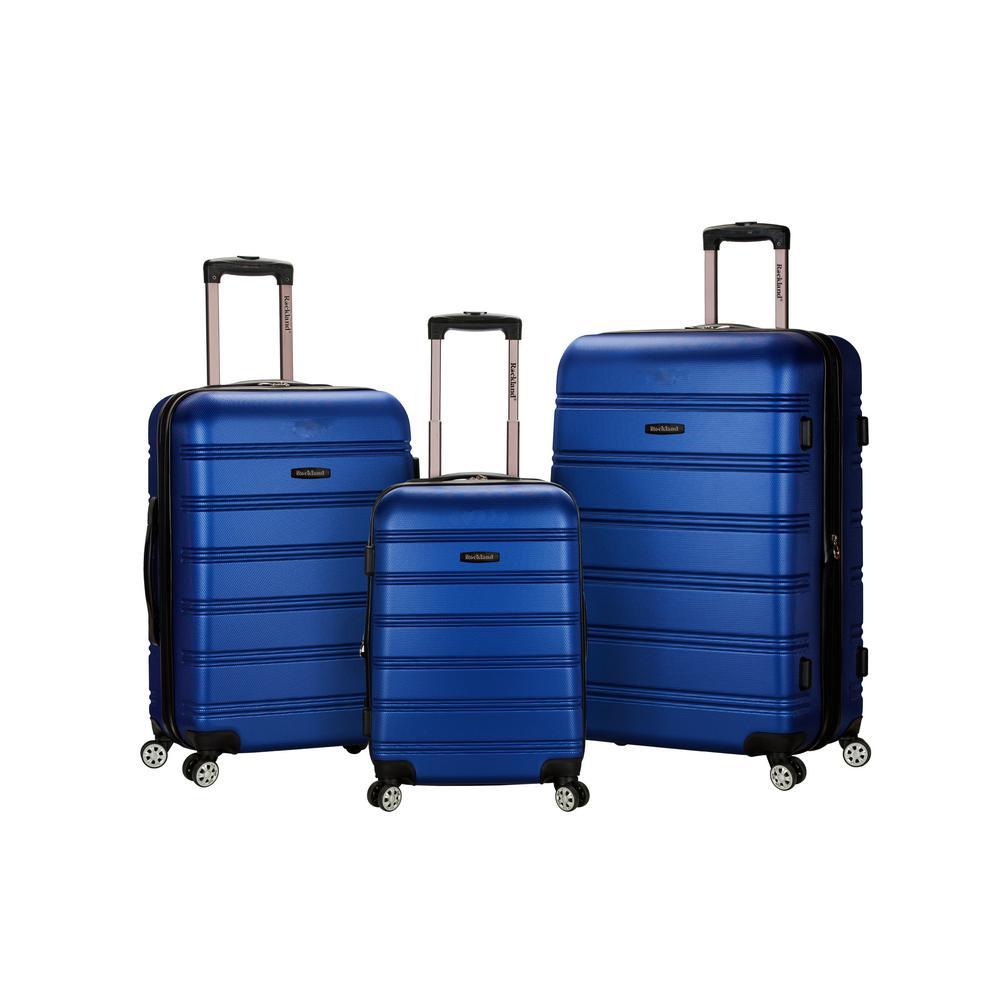Rockland Melbourne 3-Piece Hardside Spinner Luggage Set, Blue