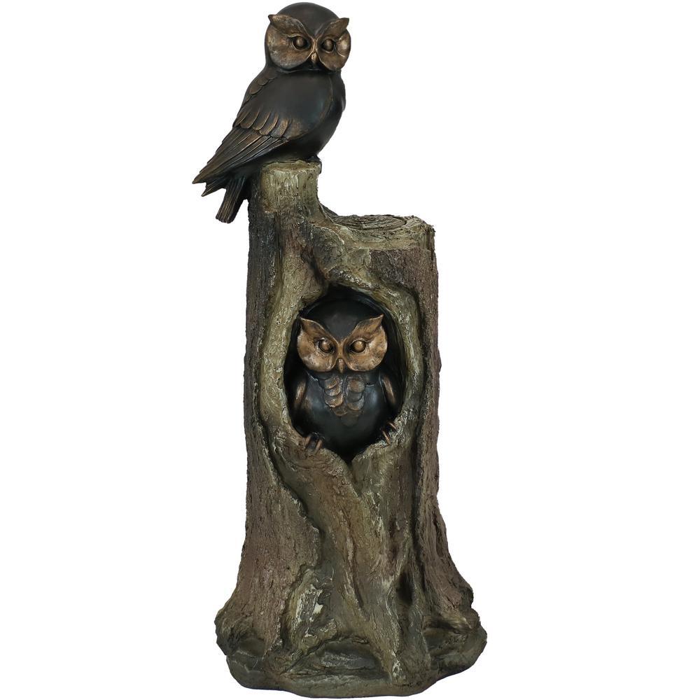 31 in. Owl Duo on Tree Stump Polyresin Outdoor Garden Statue