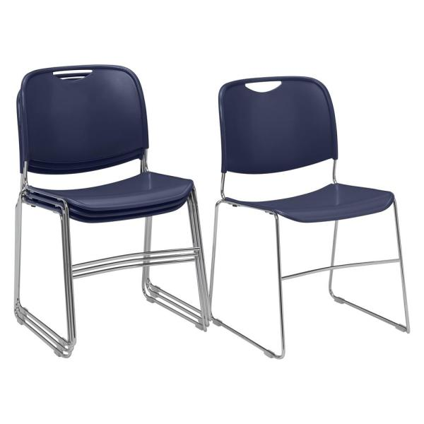National Public Seating NPS 8500 Series Navy Blue Ultra-Compact Plastic Stack Chair (4-Pack)