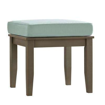 Verdon Gorge Gray Rectangle Oiled Wood Outdoor End Table with Blue Cushion