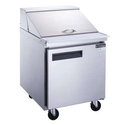 29 in. W 6.5 cu. Ft. 1-Door Commercial Food Prep Table Refrigerator in Stainless Steel with Mega Top
