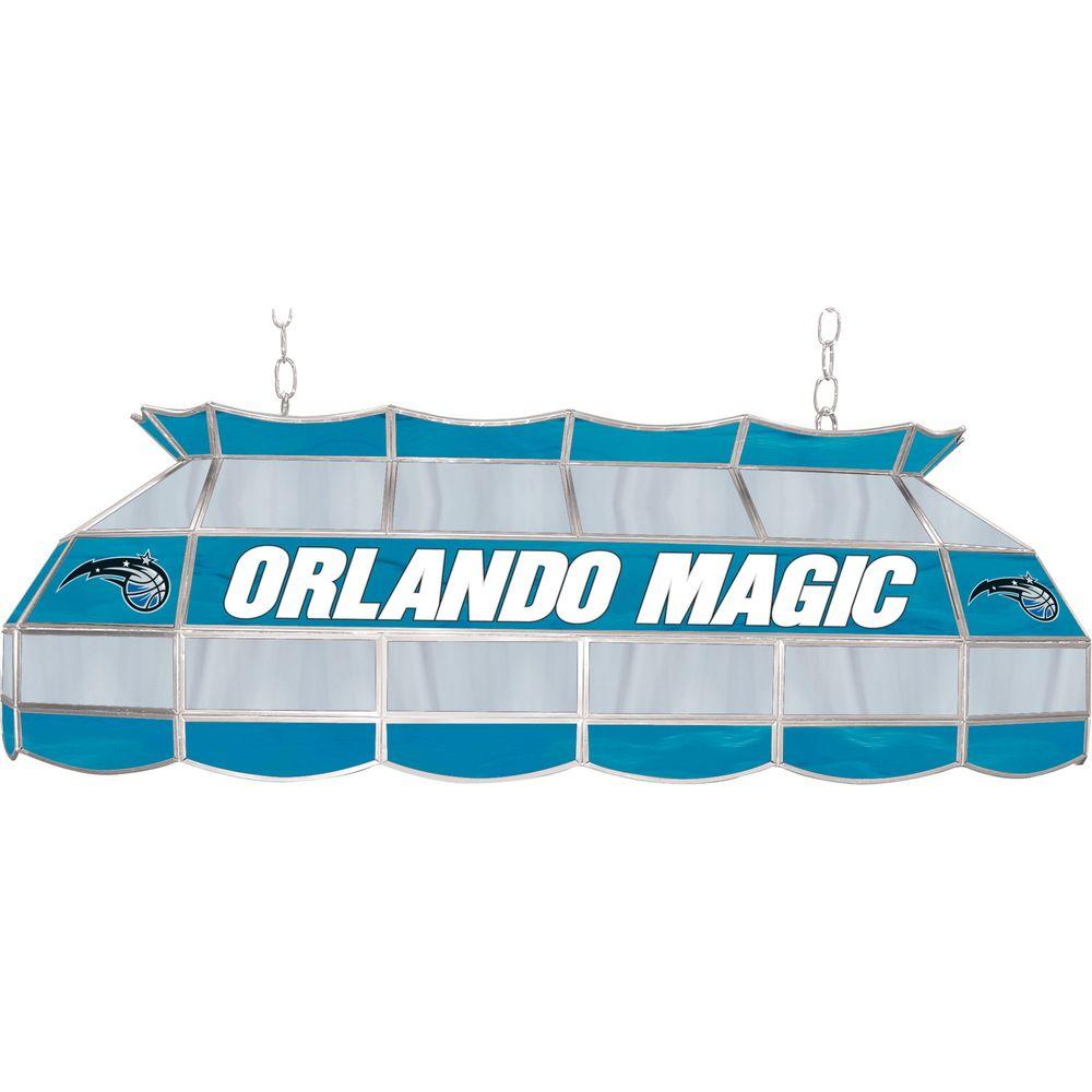 null NBA Orlando Magic NBA 3-Light Stained Glass Hanging Tiffany Lamp