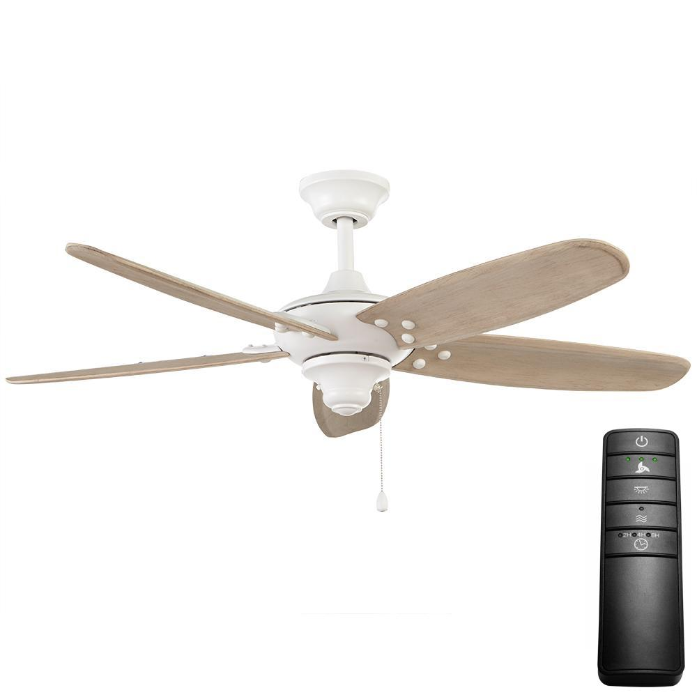 Home Decorators Collection Altura 48 In Indoor Outdoor Matte White Ceiling Fan With Remote