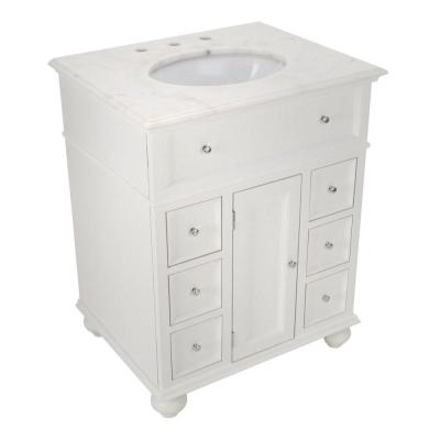 Hampton Harbor 28 in. W x 22 in. D Bath Vanity in White with Natural Marble Vanity Top in White