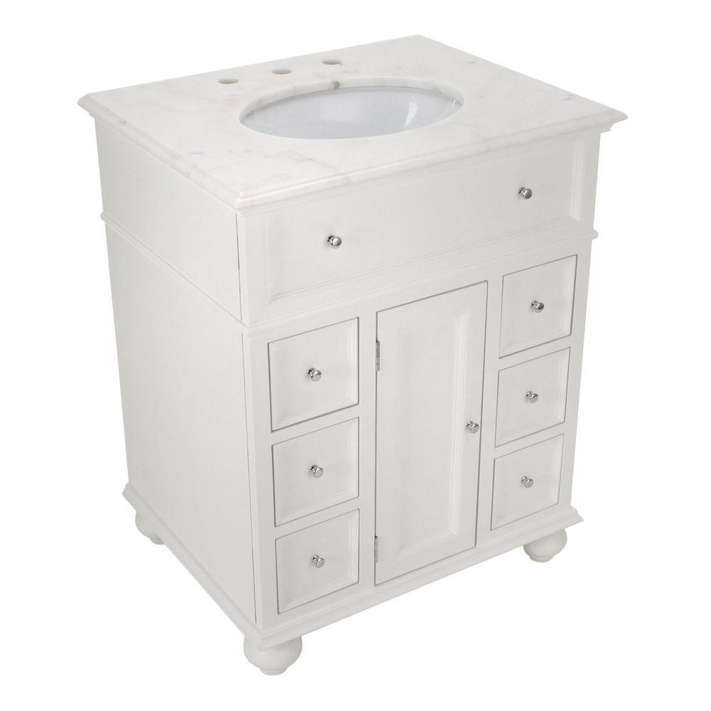 Home Decorators Collection Hampton Harbor 28 In W X 22 In D Bath Vanity In White With Natural Marble Vanity Top In White