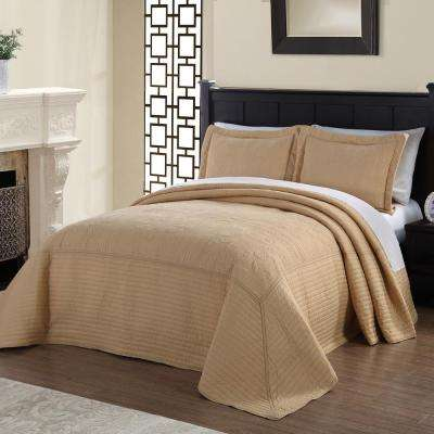 French Tile Quilted Gold Twin Bedspread