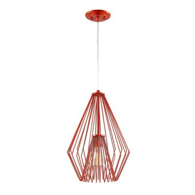 Naveen 1-Light Red Mini Pendant with Red Steel Shade