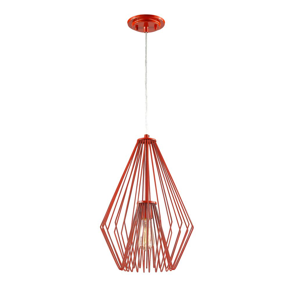 Red pendant lights lighting the home depot naveen 1 light red mini pendant with red steel shade aloadofball Choice Image