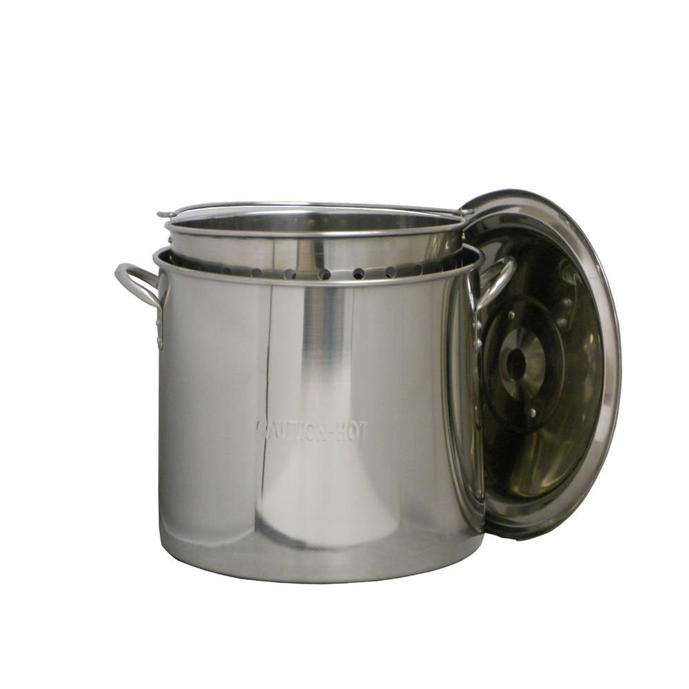 King Kooker 60 qt. Stainless Steel Boiling Pot with Lid and Punched Stainless Steel Basket-DISCONTINUED
