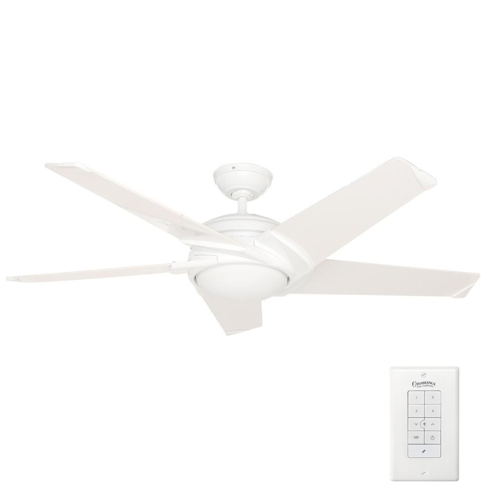 Stealth 54 in. Indoor Snow White Ceiling Fan with Universal Wall