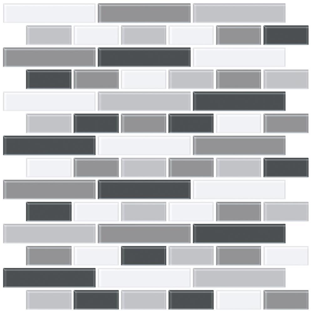 Black Smoked Glass Peel Stick Backsplash Tiles