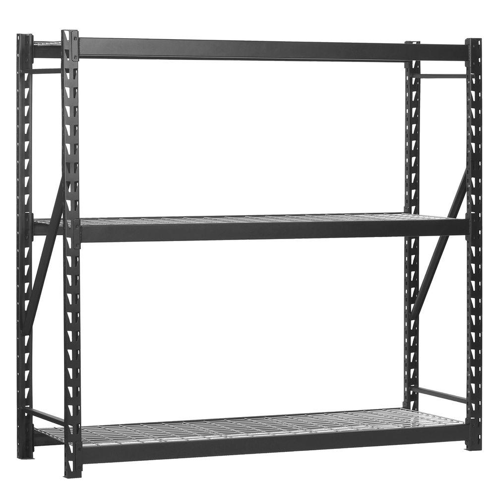 Edsal 72 in. H x 77 in. W x 24 in. D 3-Wire Shelf Steel Storage Rack in Black