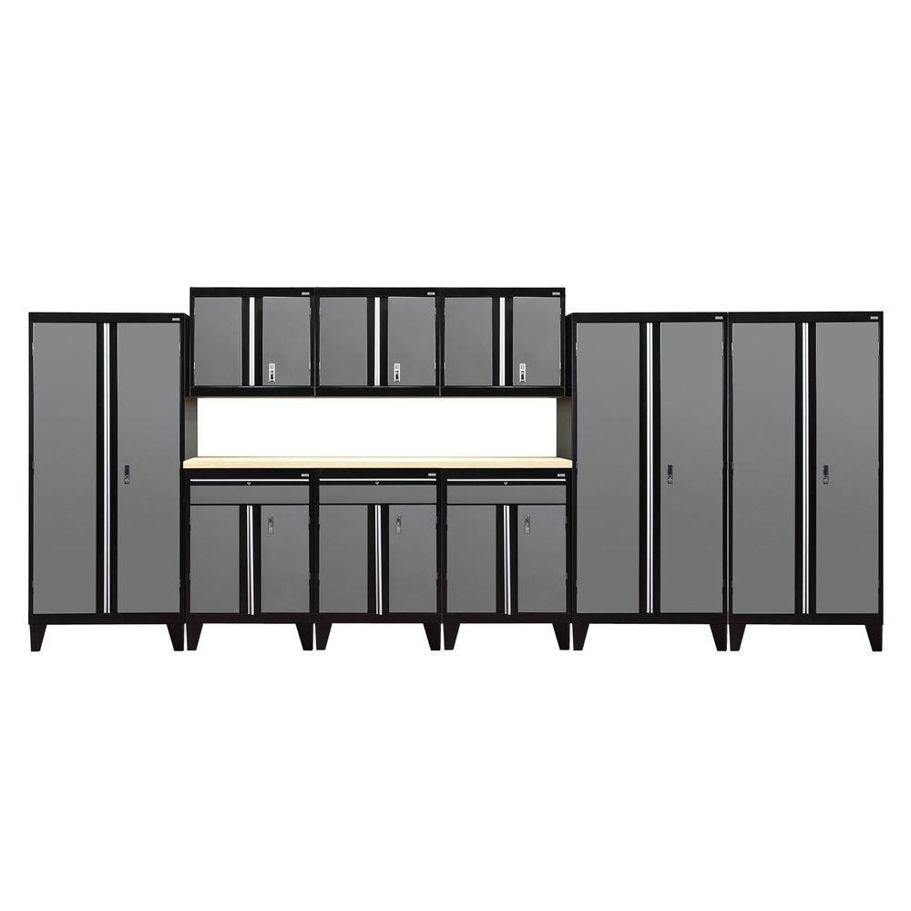 79 in. H x 219 in. W x 18 in. D Welded Steel Garage Cabinet Set in Black/Charcoal (10-Piece)