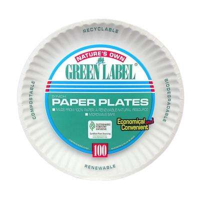 Uncoated Paper Plates, 9 in., White, 1200 Per Case