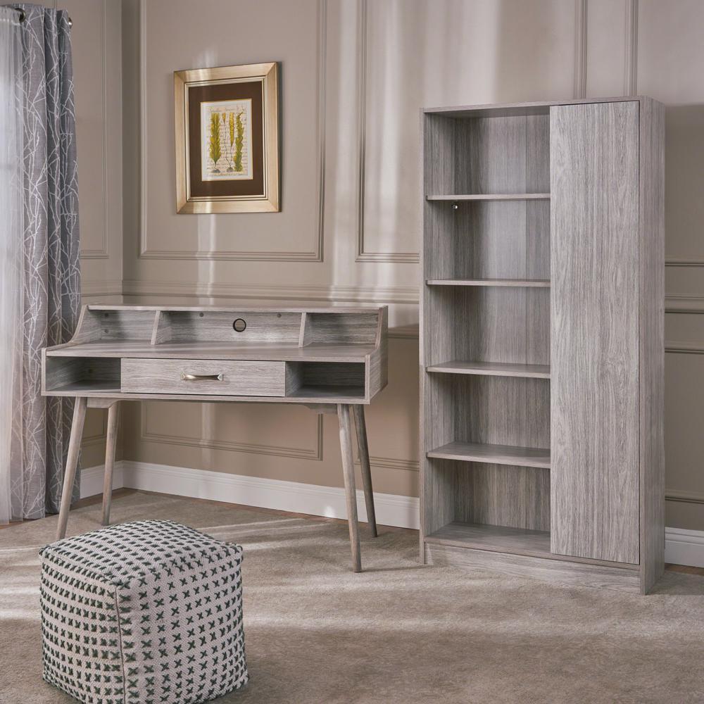 Brenda 47.24 in. Rectangular Grey Oak Wood 1-Drawer Desk with Bookcase