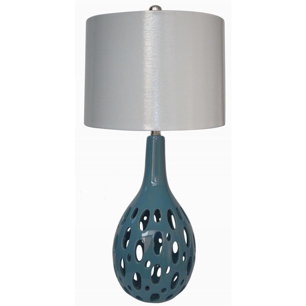 Fangio Lighting 28 in. Ceramic Table Lamp, Aqua Blue-DISCONTINUED