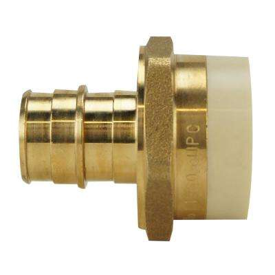 3/4 in. Brass PEX-A Barb x 3/4 in. SCH 40 PVC Straight Adapter