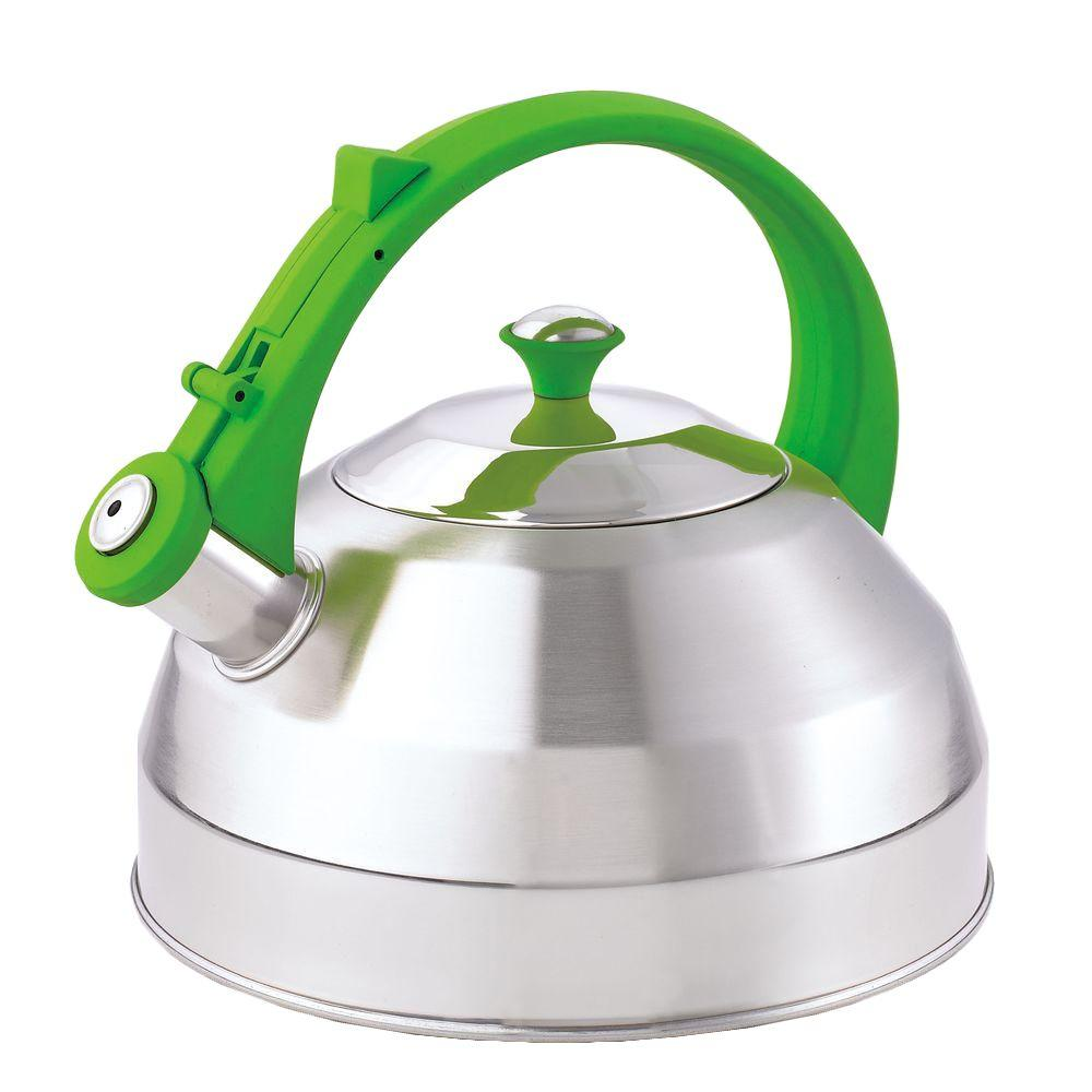 Creative Home Steppes 11-Cup Tea Kettle in Stainless Steel with Chartreuse Silicone Handle/Knob-DISCONTINUED