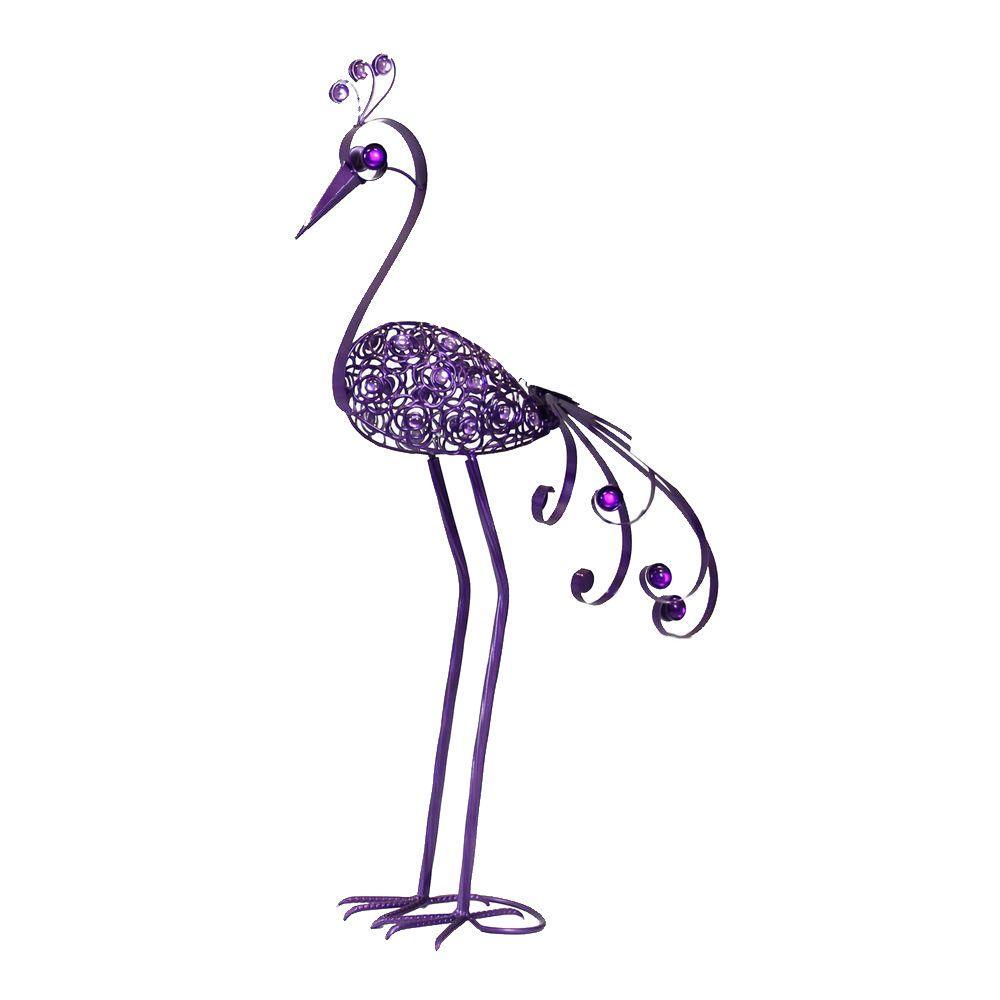 Giant 61 in. Purple Filigree Bird Statue with Filigree Flower Pattern Body