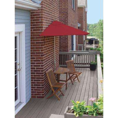 Bistro Terrace Mates Standard 5-Piece Patio Bistro Set with 9 ft. Red Olefin Half-Umbrella