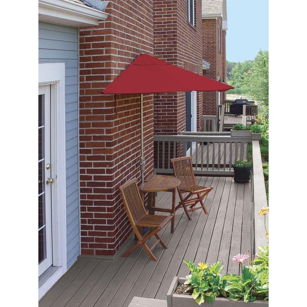 Blue Star Group Terrace Mates Bistro Standard 5-Piece Patio Bistro Set with 9 ft. Red Sunbrella Half-Umbrella