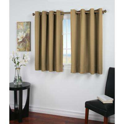 Ultimate Blackout 56 in. W x 45 in. L Polyester Short Length Blackout Window Panel in Sand