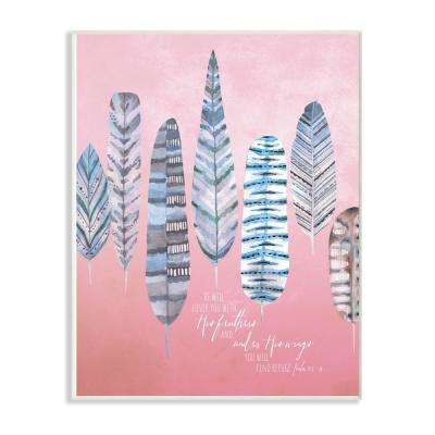 "10 in. x 15 in. ""Feathers And Wings Blue and Pink Watercolor"" by Artist Tammy Apple Wood Wall Art"