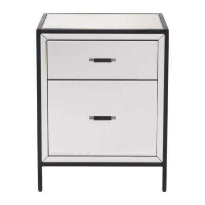 Julia 26 in. Mirror and Metal Glass End Table