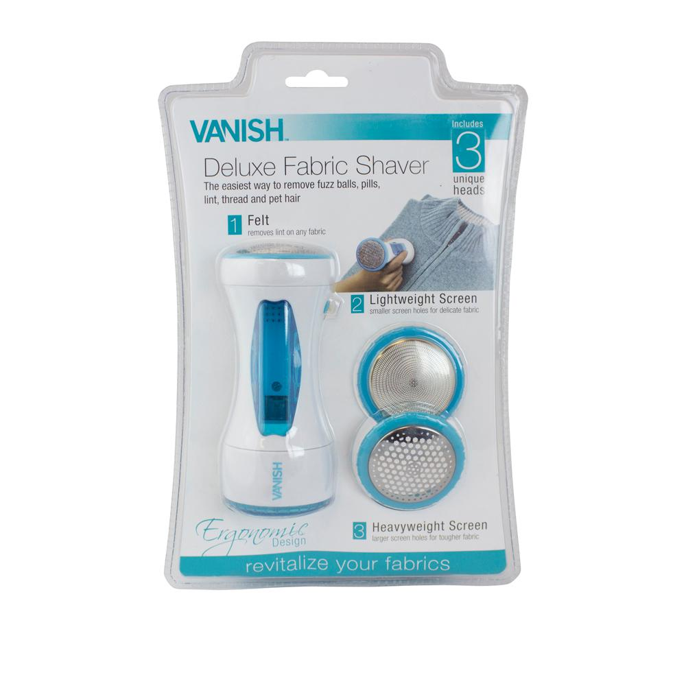 Vanish Deluxe Fabric Shaver The Vanish Ergonomic Deluxe Fabric Shaver includes 2 interchangeable shaver/applicator heads and 1 felt lint remover applicator head that no other fabric shaver device has. The screen with small size holes works best on light-weight fabric. The screen with medium size holes is for heavier fabric and the felt material applicator is for lifting lint and pet hair from any fabric. Run it over pillows, throws, tablecloths, sweaters and upholstery to rejuvenate easily.