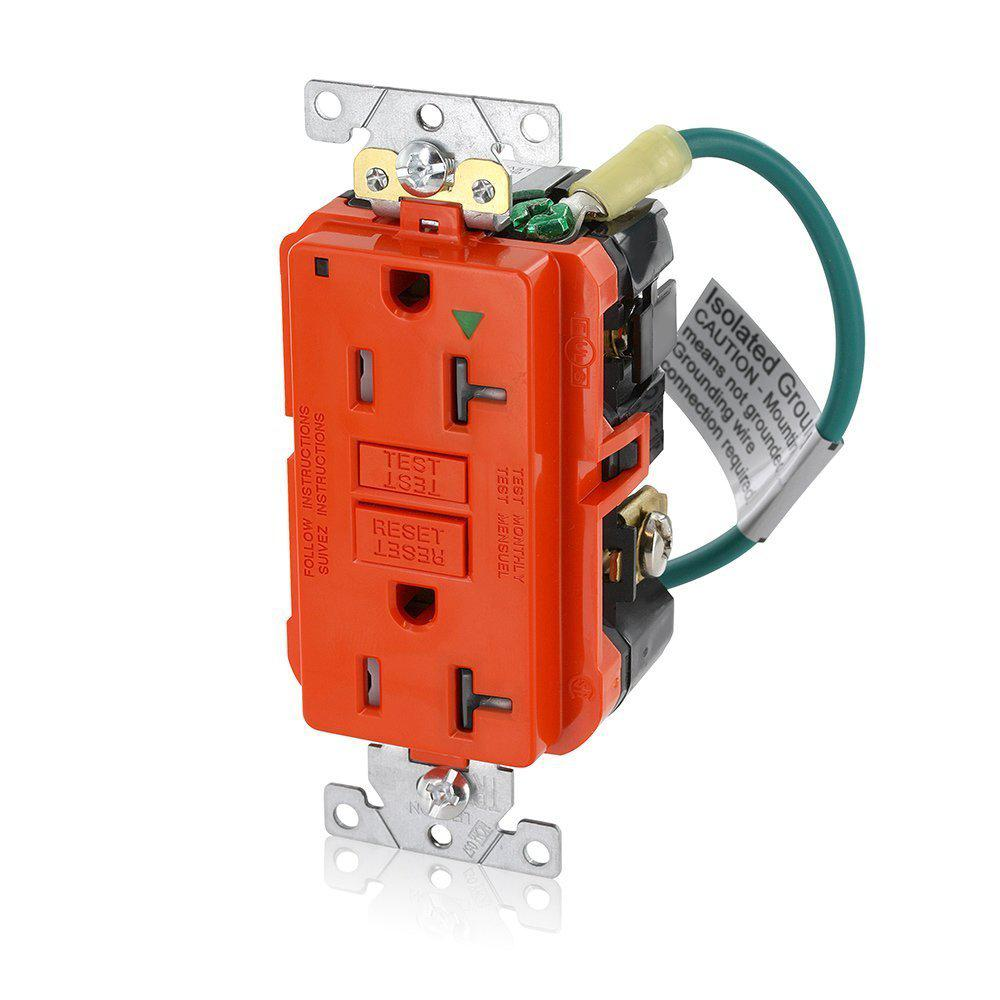Leviton 20 Amp SmartlockPro Industrial Grade Heavy Duty Tamper Resistant  Isolated Ground Duplex GFCI Outlet, Orange