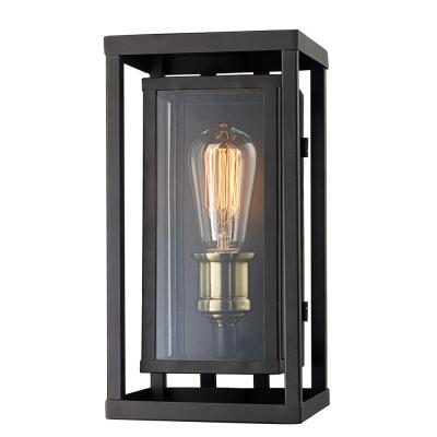 Retro 1-Light Oil Rubbed Bronze and Antique Brass Outdoor Wall Lantern Sconce