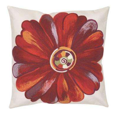 Daisy Red Square Outdoor Throw Pillow