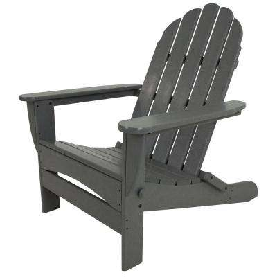 Classic Slate Grey Oversized Curveback Plastic Patio Adirondack Chair