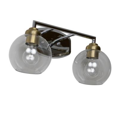 Valeries 7 in. 2-Light Chrome and Clear Vanity Light with Globe Shades