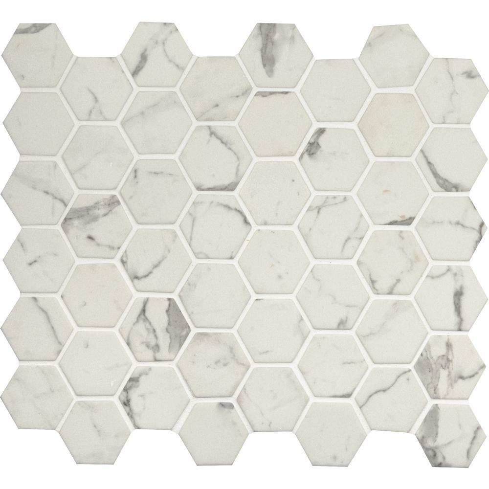 MSI Statuario Celano Hexagon 12.75 in. x 11.02 in. x 6 mm Glass Mesh ...