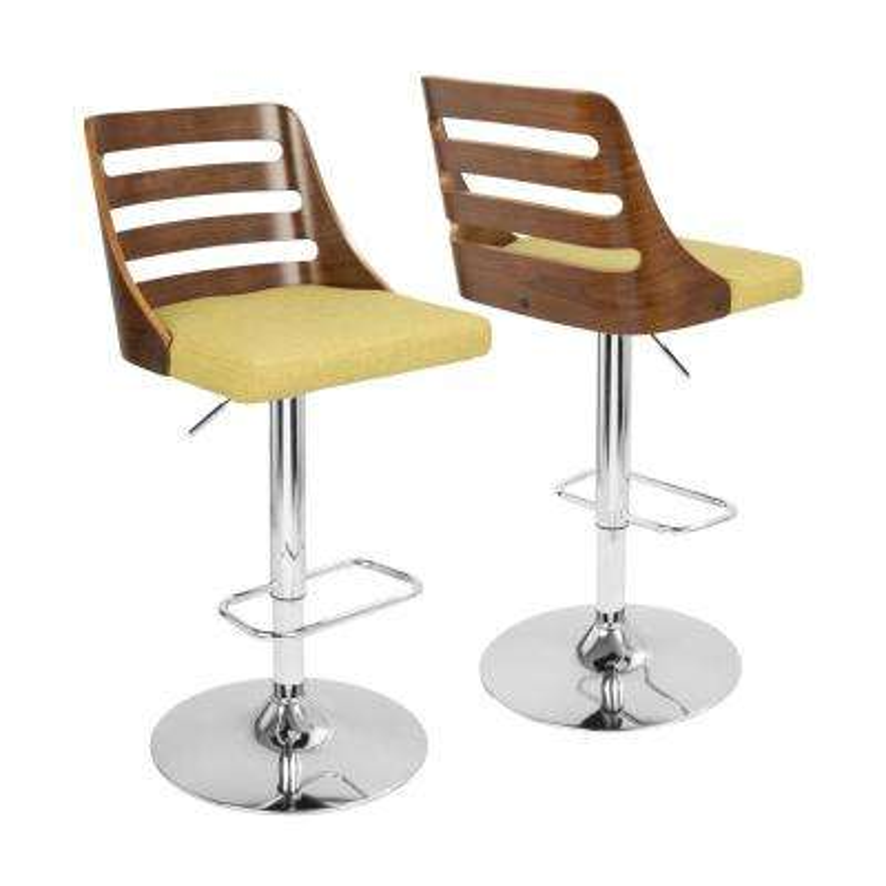 Trevi Walnut and Green Adjustable Barstool