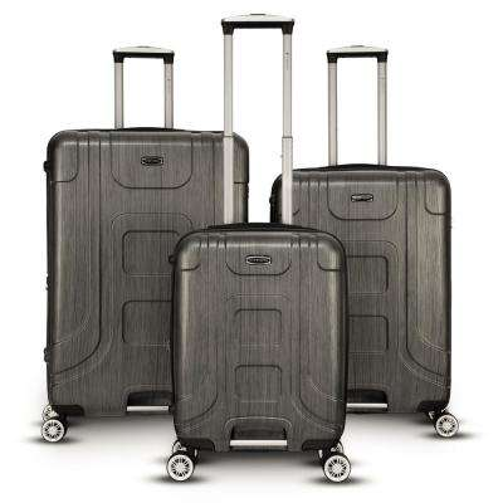 Provence 3-Piece Black Hardside Upright Spinner Luggage Set