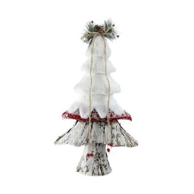 18 in. Retro Christmas White Red and Brown Rustic Style Christmas Tree Decoration