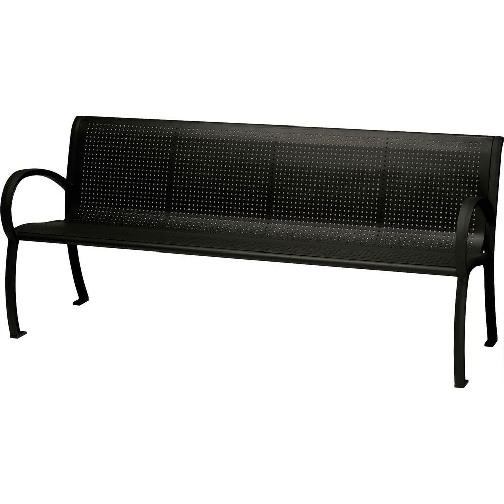 Tradewinds Tranquil 6 ft. Perforated Patio Bench with Back in Textured Black