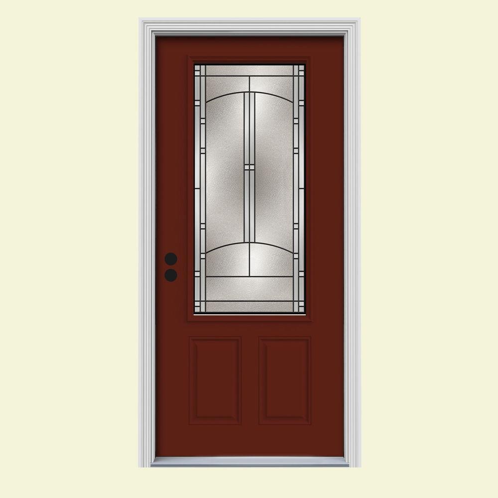 JELD-WEN 34 in. x 80 in. 3/4 Lite Idlewild Mesa Red w/ White Interior Steel Prehung Right-Hand Inswing Front Door