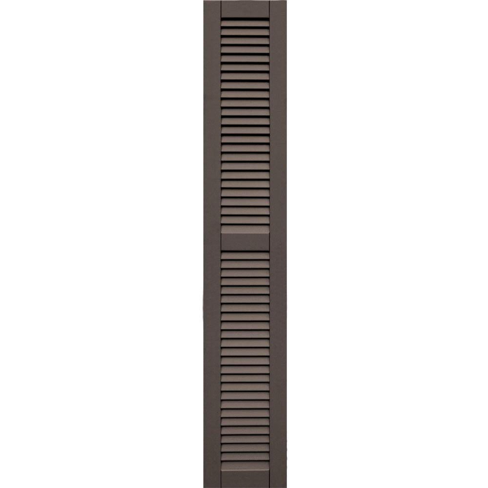 Winworks Wood Composite 12 in. x 70 in. Louvered Shutters Pair #641 Walnut