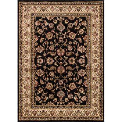 Barclay Sarouk Black 7 ft. 10 in. x 9 ft. 10 in. Traditional Floral Area Rug