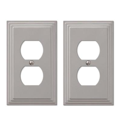 Tiered 1 Gang Duplex Metal Wall Plate - Satin Nickel (2-Pack)