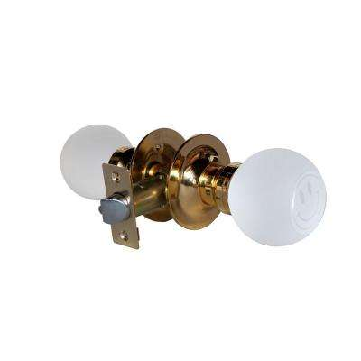 Smiley Face Crystal Brass Passive Door Knob with LED Mixing Lighting Touch Activated