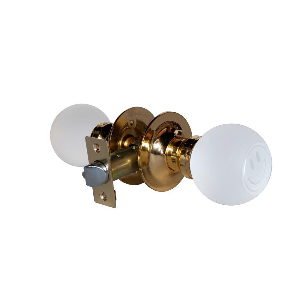 Smiley Face Crystal Brass Passive Door Knob with LED Mixing Lighting