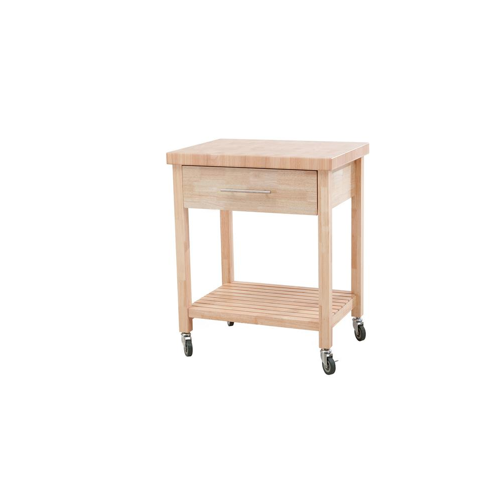 Kitchen Cart With Drawers: Sunjoy All Wood Kitchen Cart With 1 Drawer And 1 Bottom