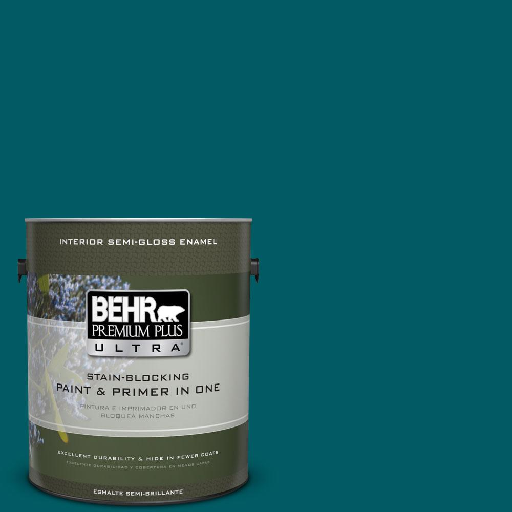 BEHR Premium Plus Ultra 1-gal. #S-H-530 Tropical Skies Semi-Gloss Enamel Interior Paint