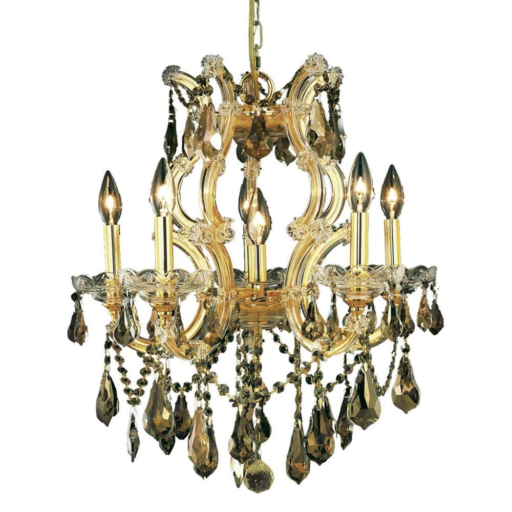 Elegant Lighting 6-Light Gold Chandelier with Golden Teak Smoky Crystal