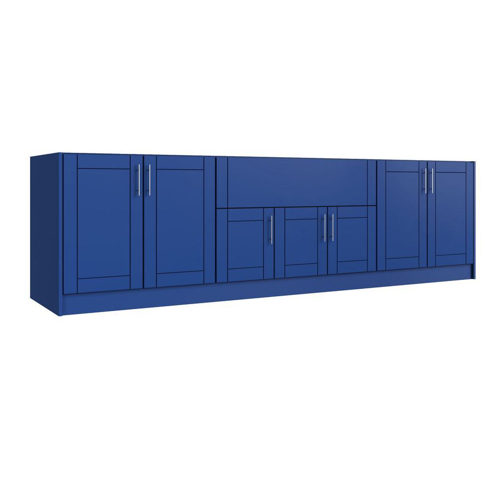 Sanibel Reef Blue 20-Piece 120 in. x 34.5 in. x 27 in. Outdoor Kitchen Cabinet Island Set