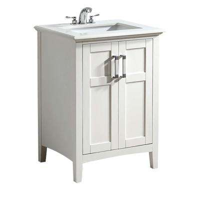 Winston 24 in. Bath Vanity in Soft White with Quartz Marble Vanity Top in Bombay White with White Basin